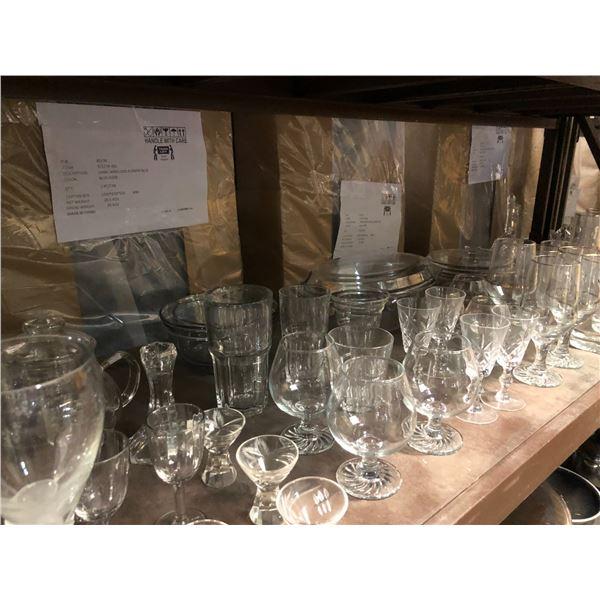 Large shelf lot of assorted glassware & crystalware
