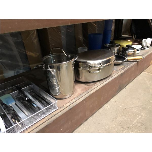 Large shelf lot of assorted cookware/ cutlery/ serving pcs etc.