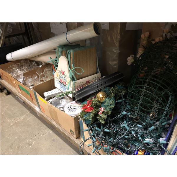 Large shelf lot of assorted household items - glassware/ decorative items/ Christmas décor & lightin