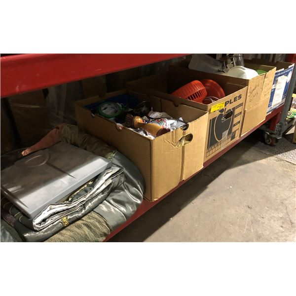 Large shelf lot of assorted general household items - blankets & towel/ Tupperware container/ room f
