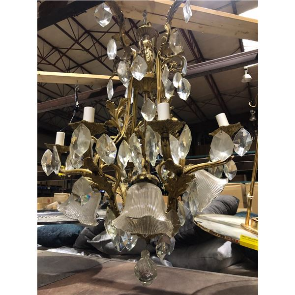 Large gilded w/ crystal hanging chandelier light fixture from the show