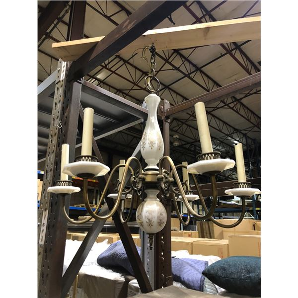 Milk glass & brass hanging chandelier from the show