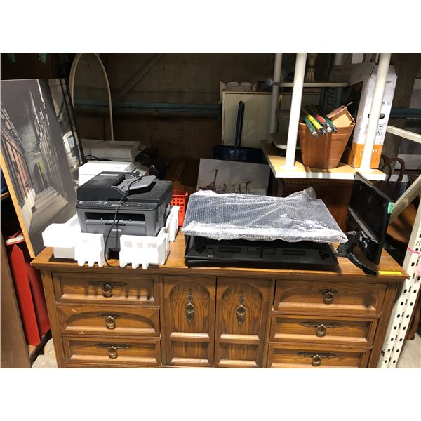 Large group of assorted household items - 2 pc. White bedroom set/ vintage oragon/ office printers/