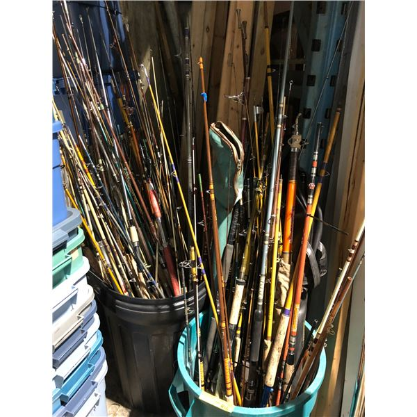 Two large garbage pails filled w/ fishing rods (FOR PARTS OR REPAIR ONLY)