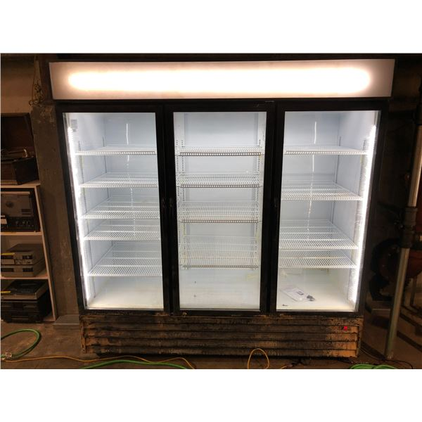 Cool-it upright 3 door glass front display cooler - rough look on bottom on purposely painted for pr