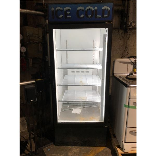 Habco upright single door glass front display cooler (blowing warm, may need service) from the show