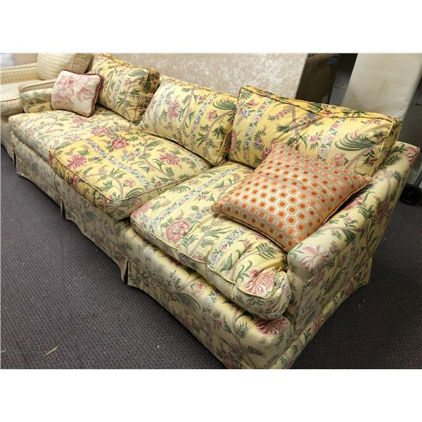 Two pc. Preston's yellow floral upholstered sofa & chair set