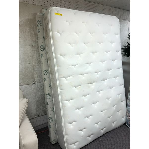 Double sized mattress & box spring set (some stains present)