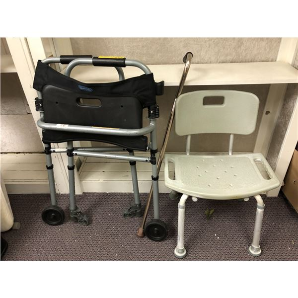 Medical assist walker - shower chair and cane
