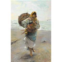 M. Salas, Oil on canvas, Portrait of a Gypsy