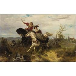 Wilhelm Carl Rauber, Oil on wood panel, The Hunt