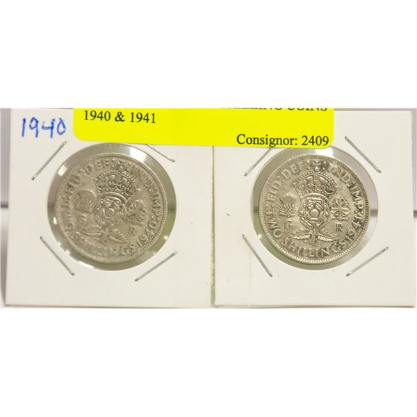 2 ENGLISH SILVER SHILLING COINS 1940 & 1941