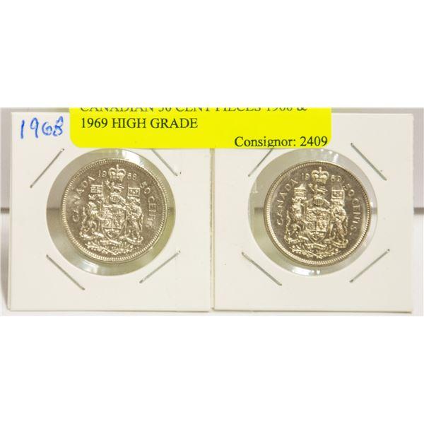 CANADIAN 50 CENT PIECES 1968 & 1969 HIGH GRADE