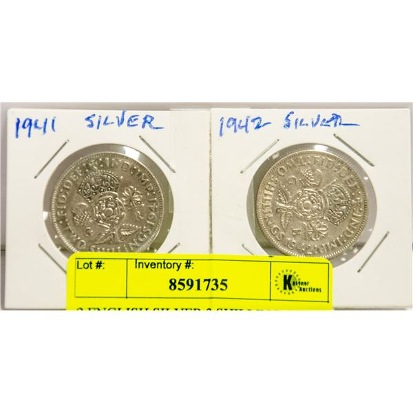 2 ENGLISH SILVER 2 SHILLING COINS 1941 & 1942