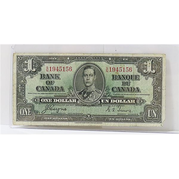 CANADIAN 1937 $1 BILL