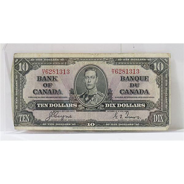 CANADIAN 1937 $10 BILL