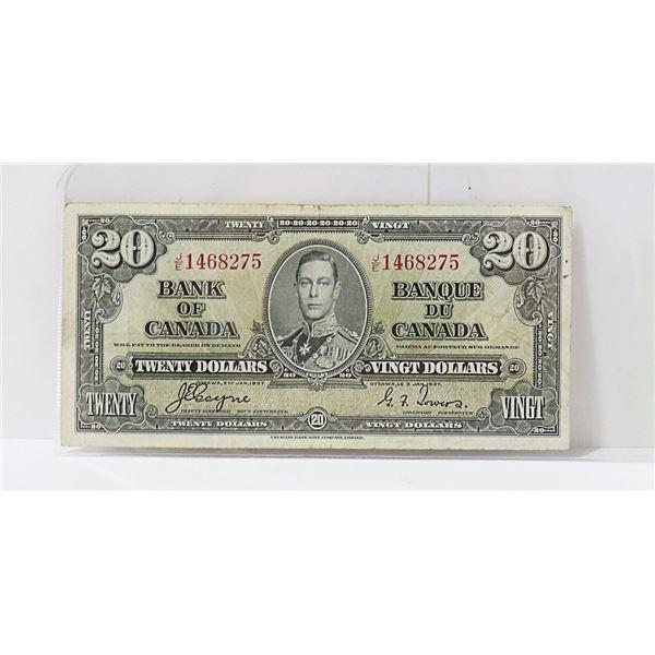 CANADIAN 1937 $20 BILL