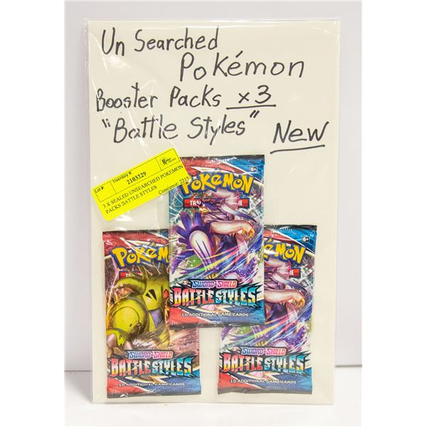 3 X SEALED UNSEARCHED POKEMON PACKS BATTLE STYLES