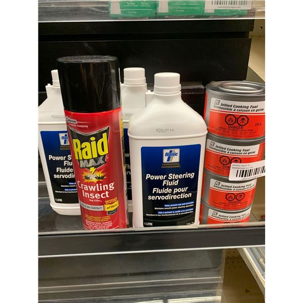 Lot of raid, power steering fluid and sterno - 8 items