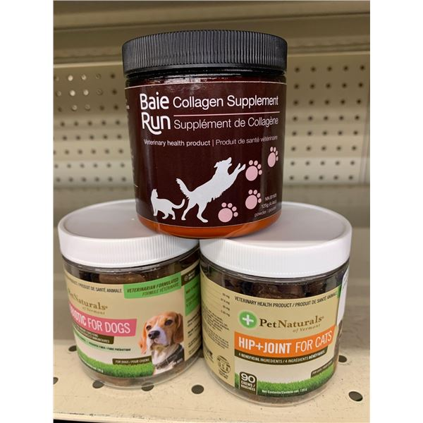 Pet naturals hip & joint for cats and run supplements - lot of 3