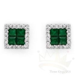Jewelry 1.07 ctw Emerald & Diamond Earrings 14K Gold
