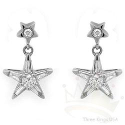 Jewelry .59 ctw Diamond Star Earrings 14K White Gold