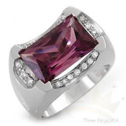 Ring 5.48 ctw Amethyst & Diamond 14K White Gold