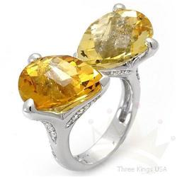 Ring 14.52 ctw Citrine & Diamond 14K White Gold