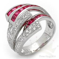 Ring 2.1 ctw Ruby & Diamond 14K White Gold