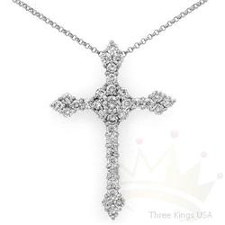 Certified 1.43 ctw Diamond Cross Necklace 14K Gold