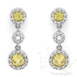 Earrings 1.14 ctw Yellow Sapphire & Diamond 14K Gold