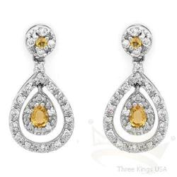 Jewelry 1.04 ctw Citrine & Diamond Earrings 14K Gold