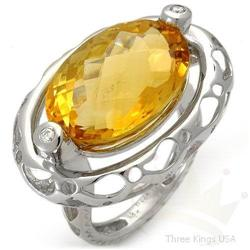 Ring 13.15 ctw Citrine & Diamond 14K White Gold