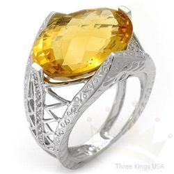 Ring 11.03 ctw Citrine & Diamond 14K White Gold