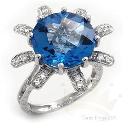 Ring 10.92 ctw Topaz & Diamond 14K White Gold
