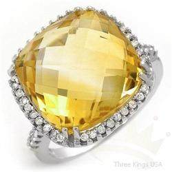 Jewelry Ring 10.57 ctw Citrine & Diamond 14K White Gold
