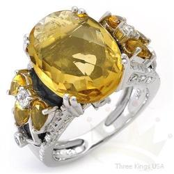 Ring 15.53 ctw Onyx,Topaz,Citrine & Diamond 18K Gold