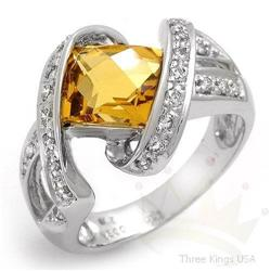 Ring 2.4 ctw Citrine & Diamond 14K White Gold