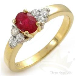 Jewelry .84 ctw Ruby & Diamond Ring 14K Yellow Gold