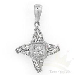 Jewelry .22 ctw Diamond Pendant 18K White Gold