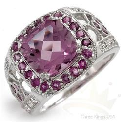 Jewelry 5.90 ctw Amethyst & Diamond Ring 14K Gold