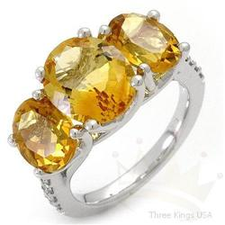 Ring 6.55 ctw Citrine & Diamond 14K White Gold