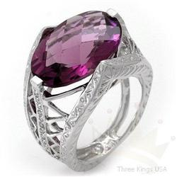 Ring 9.86 ctw Amethyst & Diamond 14K White Gold