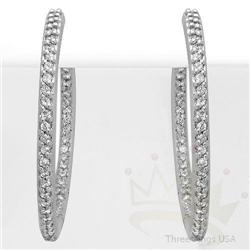 Jewelry .76ct Diamond Hoop Earrings 14K White Gold