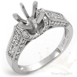 Semi-mount .65 ctw Diamond Ring 14K White Gold