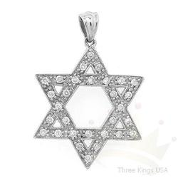 Star of David .30 ctw Diamond Pendant 14K White Gold