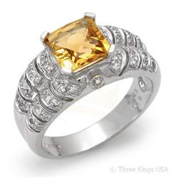 Ring 1.84 ctw Citrine & Diamond 14K White Gold