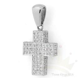 Jewelry 1.50 ctw Diamond Cross Pendant 14KW Gold
