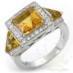 Ring 5.0 ctw Citrine & Diamond 14K White Gold