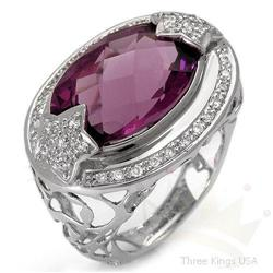 Ring 9.42 ctw Amethyst & Diamond 14K White Gold